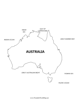 Australia Bodies Of Water Map