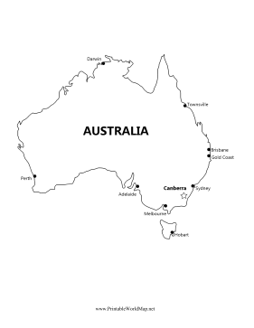 Australia Map With Major Cities