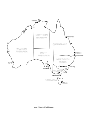 Australia Map With Major Cities And States