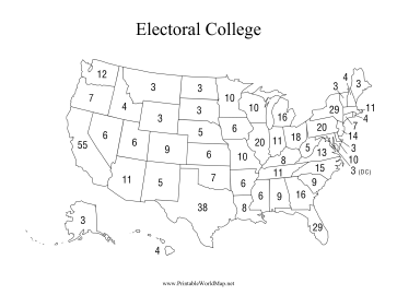ElectoralCollegepng - Map of us without electoral college 2016