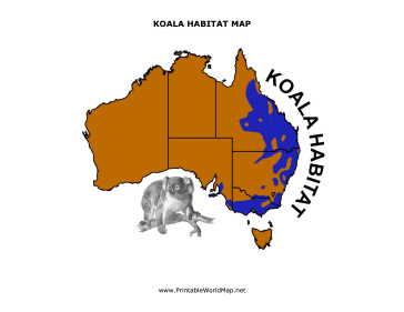 Koala Habitat map for Kids