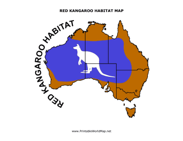 Red Kangaroo Habitat map for Kids
