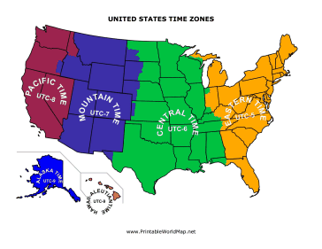 Time Zones Map Usa