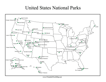 USA National Parks Map