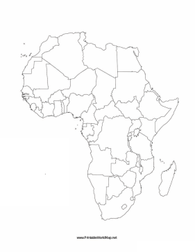 image relating to Map of Africa Printable called Africa blank map