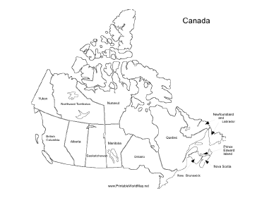 graphic relating to Printable Map of Canada titled Canada map