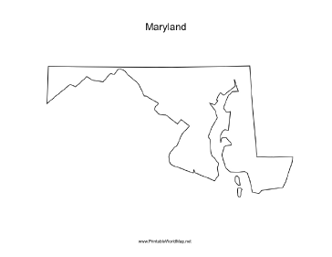 Blank Map - Maryland printable map