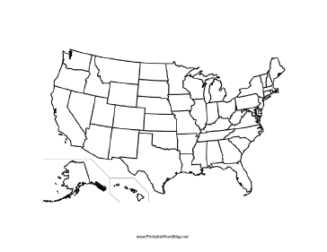 Printable Maps - Blackline us map
